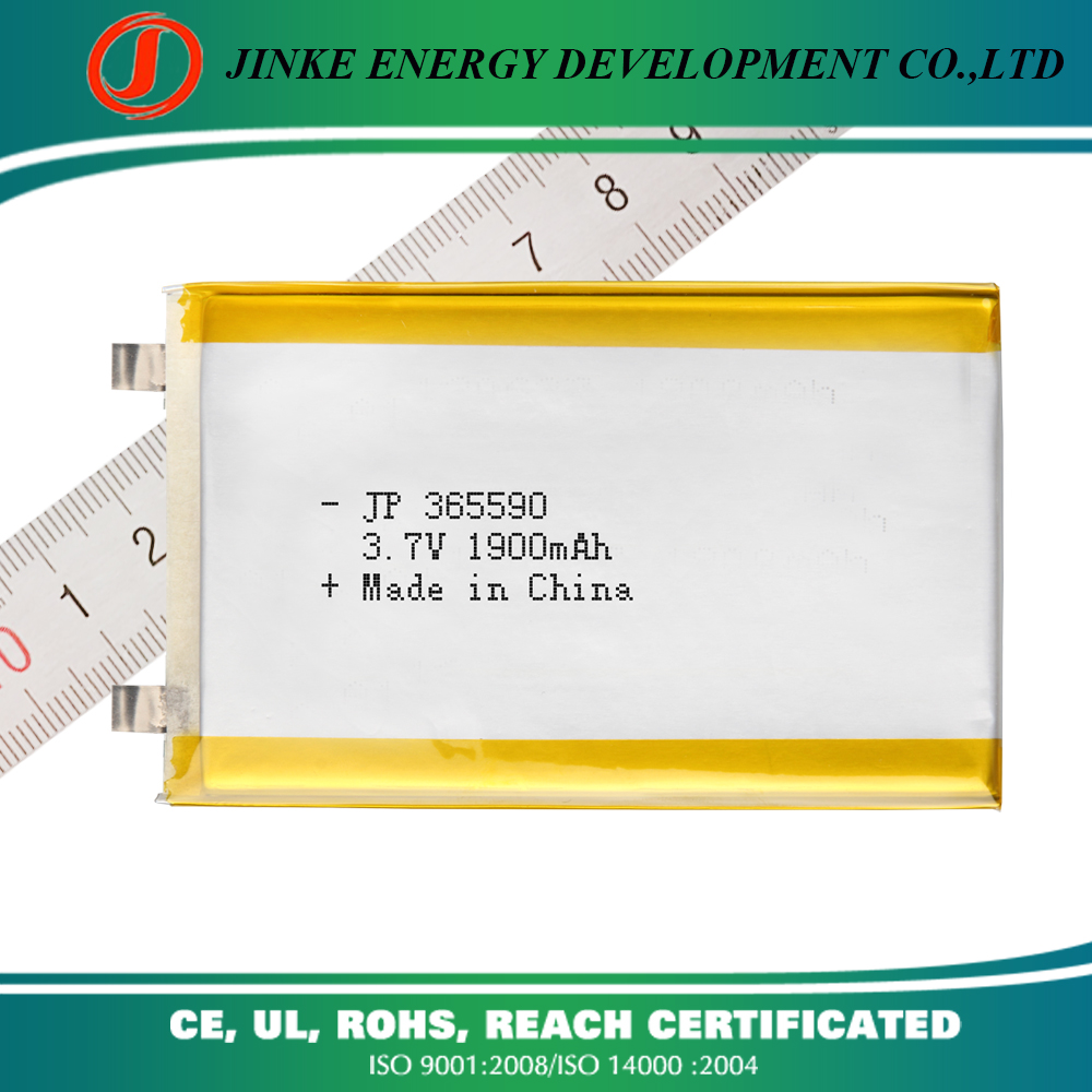 UL CB approved 3.7v 365590 1900mah rechargeable lithium ion battery 2p 3800mah,high quality li-ion recharge lithium battery