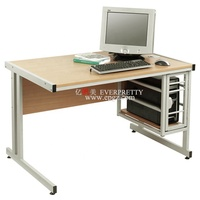 Modern Office Wood Top Desk, Teachers Standard Table, School Computer Desk with Metal Box on Right Side
