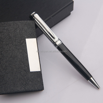 promotional cheap customized logo account executive ballpoint pen set with name card holder