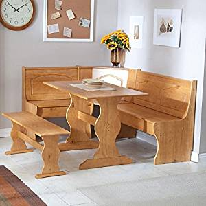 Reversible 3 Piece Corner Dining Set Light Honey Natural Wood Finish