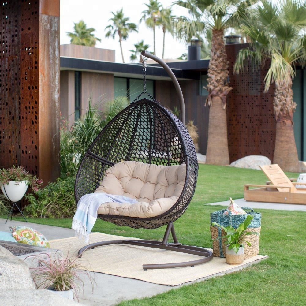 Outdoor Wicker Hanging Double Egg Chair With Cushion And Stand Buy Egg Shaped Wicker Chairs Hanging Wicker Egg Chair Swing Chair Product On Alibaba Com