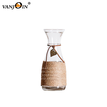 Zakka Diy Glass Vases Wholesale With Hemp Rope Decorative Glass