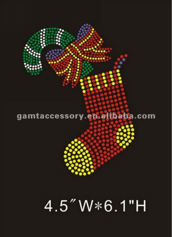 bling bling rhinestone transfers design Christmas sock hot fix on apparel hottest sale