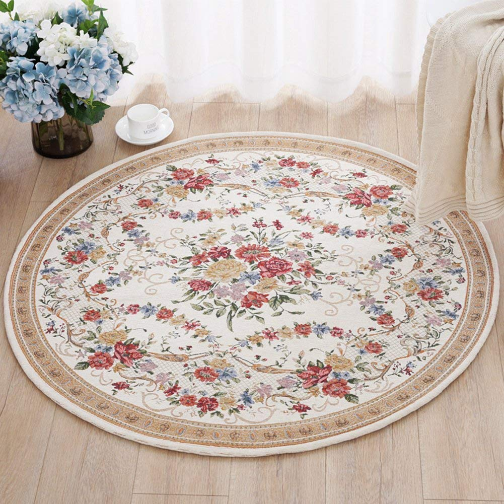 Ukeler Home Decor Collection Rustic Floral Round Rugs Luxury Soft Modern Floor Round Rugs Carpet for Living Room Bedroom, 3'x3'