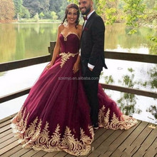 Burgundy Lace Applique Arabic Prom Ball Gown Muslim Prom Dresses 2018