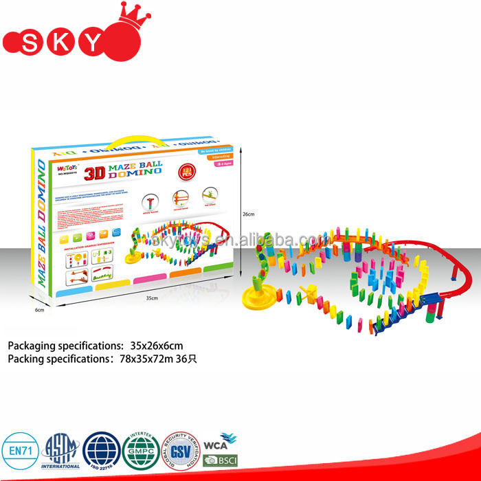 121pcs plastic domino blocks toys educations marble run domino toys for kids