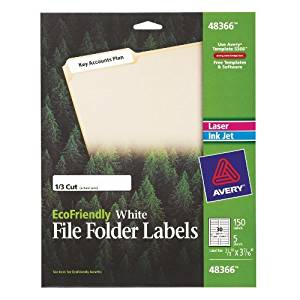 Avery EcoFriendly File Folder Labels for Laser and Ink Jet Printers, 0.66 x 3.4375 Inches, White, Permanent, Pack of 150 (48366) Model: 48366 Office Supply Store