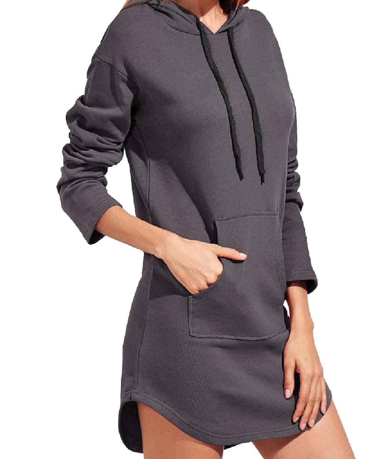 Zimaes-Women Pure Color Hooded All-Match Mid-Length Tracksuit Top