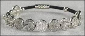 """TC057Religious & Catholic Jewelry, Men or Womens St. Benedict Exorcism Medal Bracelet, Black Cord, Material: Zinc Alloy Size: 8"""" L. Lay Catholics Are Not Permitted to Perform Exorcisms but They Can Use the Saint Benedict Medal, Holy Water, the Crucifix, and Other Sacramentals to Ward Off Evil."""