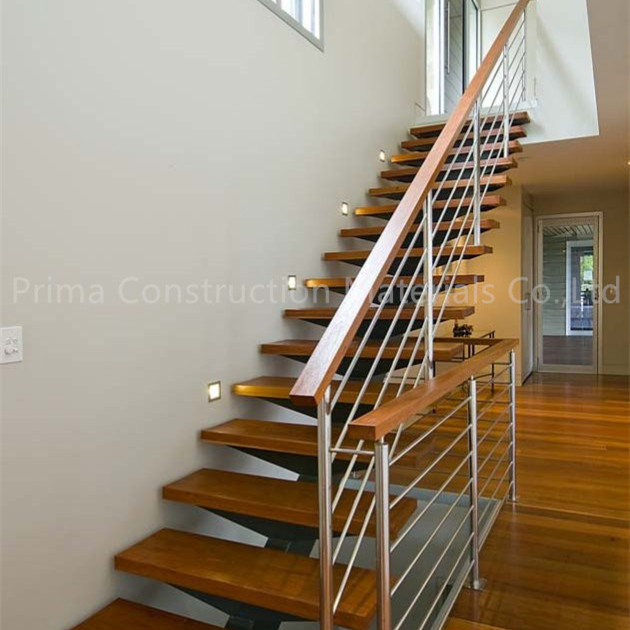 Steel Rod Railing Solid Wood Open Riser Stairs Staircase