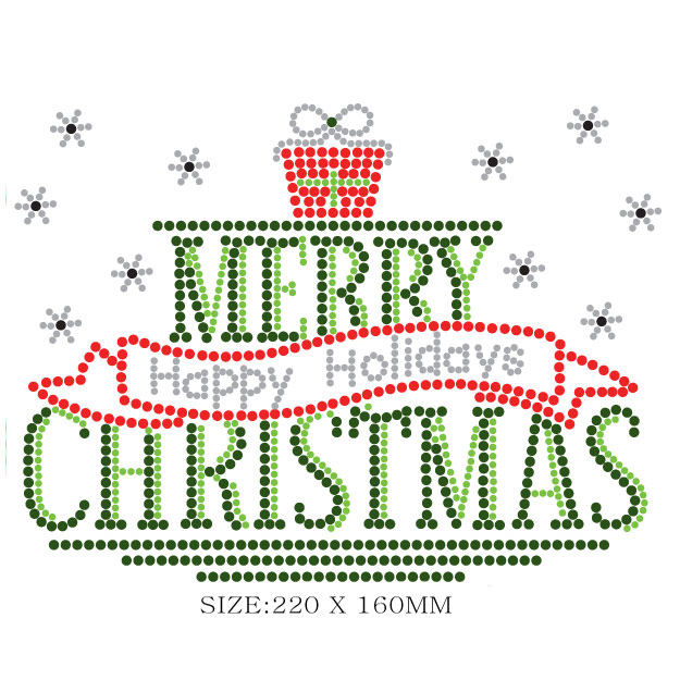 Merry Christmas Rhinestones transfer iron on motif for clothes
