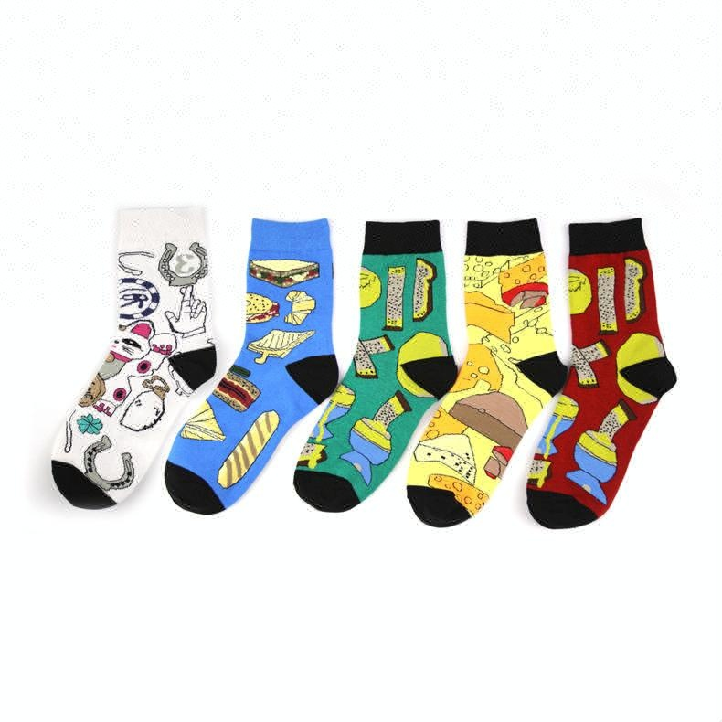 Underwear & Sleepwears Devoted 1pair Men Autumn Winter Retro Style Art Painting Socks Skateboard Cotton Socks For Male Fashion Cotton Crew Funny Socks Moderate Cost