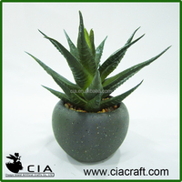 Mini Artificial Potted Aloe Succulent Plant in Concrete Barrel Pot
