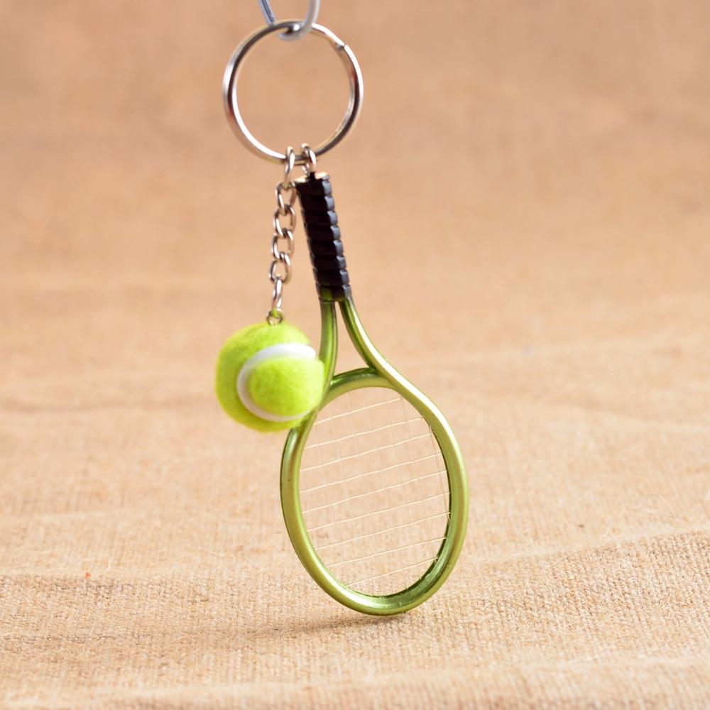 Portachiavi Mini Tennis Racket Ball Ciondolo Catena Chiave per Regalo