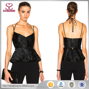 fashion sexy black jacquard and beaded newest hot spaghetti straps women vests