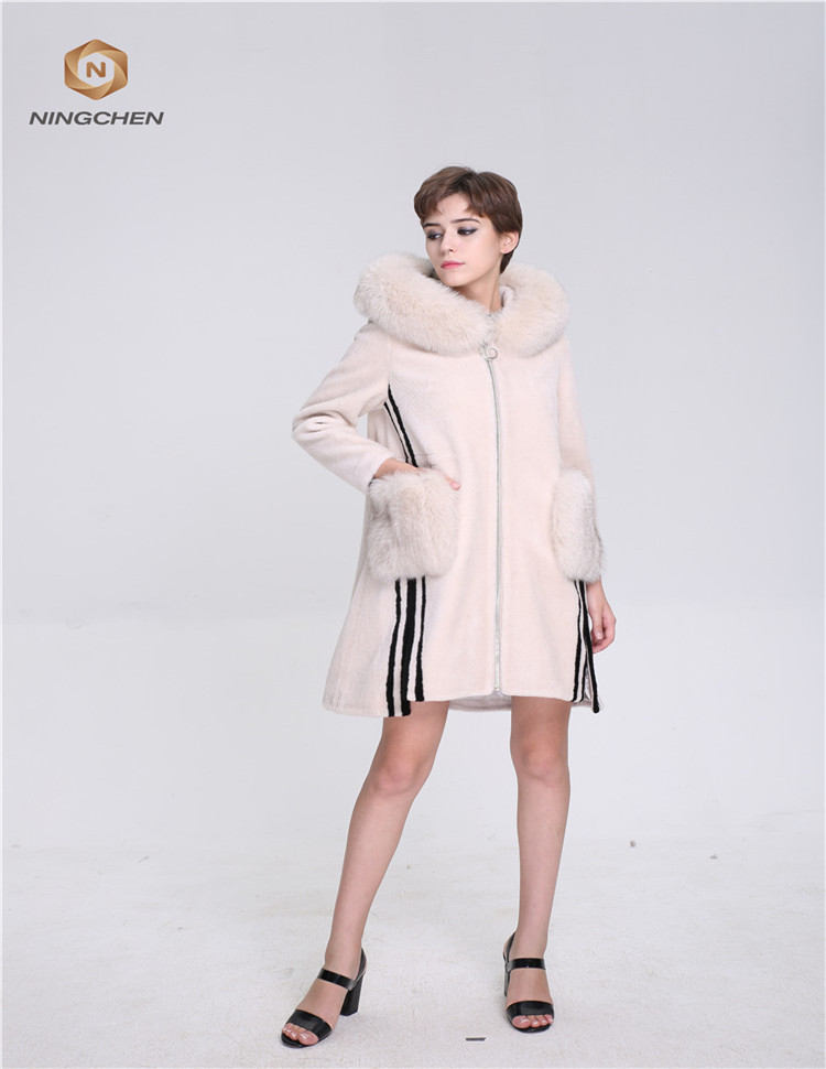 2017 Fashion fox collar fur parka natural mink fur coat
