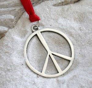 Pewter Peace Sign Yoga Love Hippie Namaste Meditation Christmas Ornament and Holiday Decoration