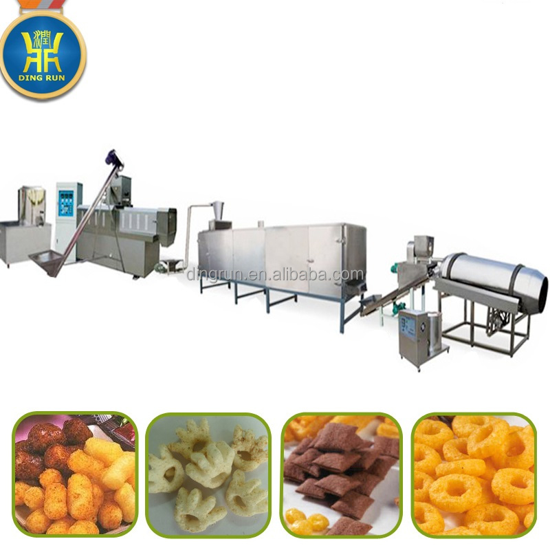 single screw snack extruder single roller seasoning machine