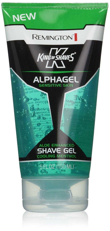 Remington King of Shaves Alphagel Sensitive Skin Aloe Enhanced Shave Gel, Cooling Menthol, 5 Oz (Pack of 6)