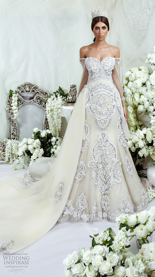 Ds 07 High Quality Beaded Crystals Wedding Bridal Gown With Detachable Train Y Off Shoulder