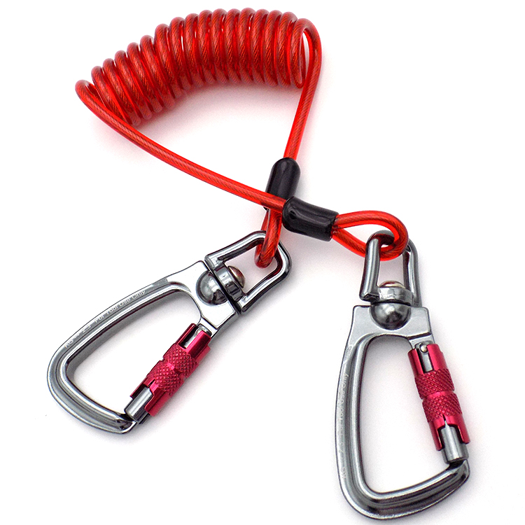 Super Spring Coil Tool Lanyard With Double Screw-Lock Carabiners PVC with galvanized wire inside Tool Lanyard