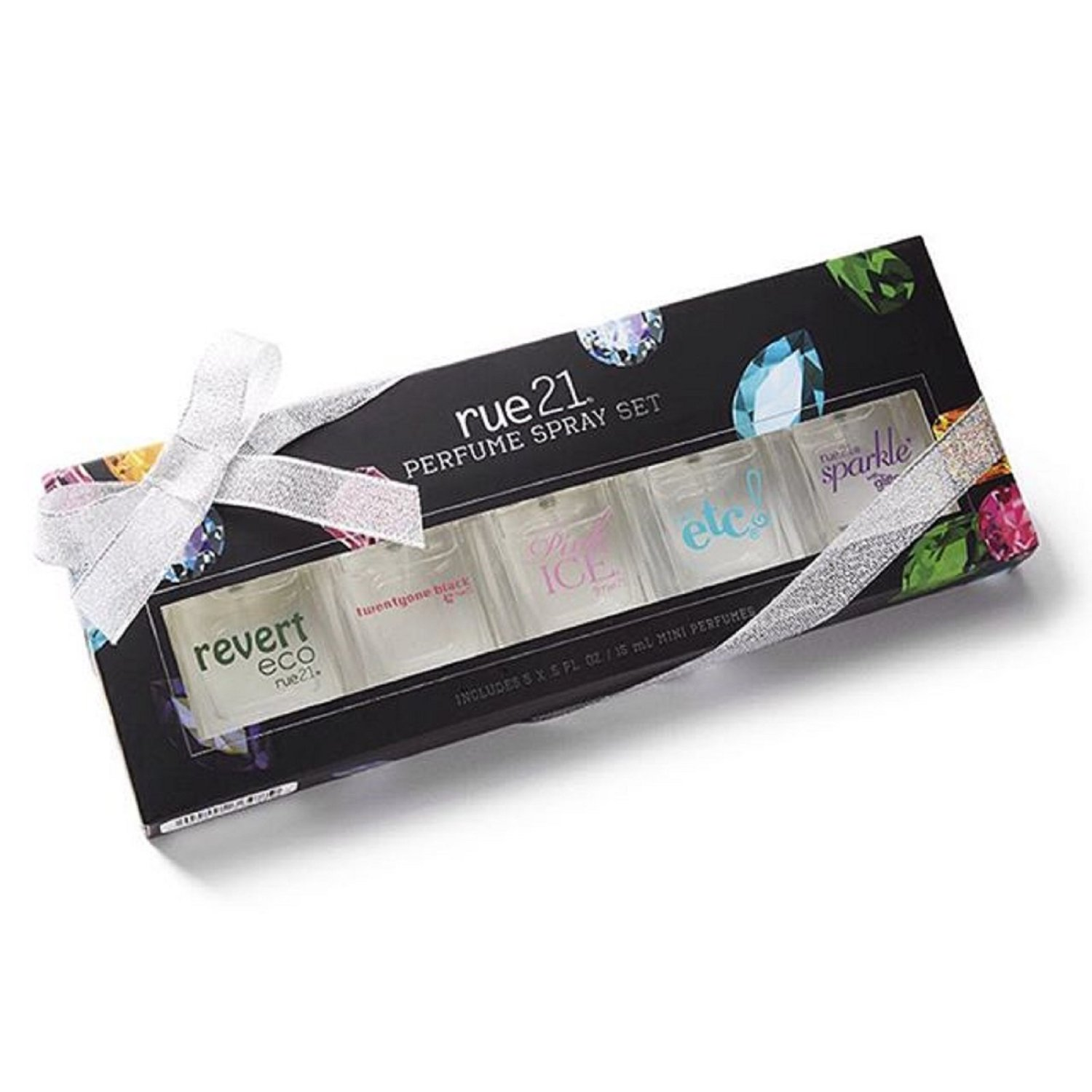 Rue21 Signature Fragrance Gift Set Sparkle with Glitter (.5 Oz.), Etc (.5 Oz.), Pink Ice, Twentyone Black (.5 Oz.), & Revert Eco (.5 Oz.)