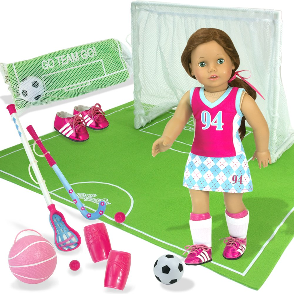 Ultimate Sports Set for 18 Inch Dolls, Complete Varsity Uniform, Field & Net, Doll Sports Equipment 13 Piece Set by Sophia's