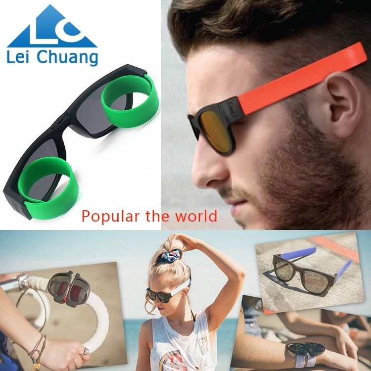 OEM or wholesale innovational and fun sun glasses foldable slapsee sunglasses for amazon