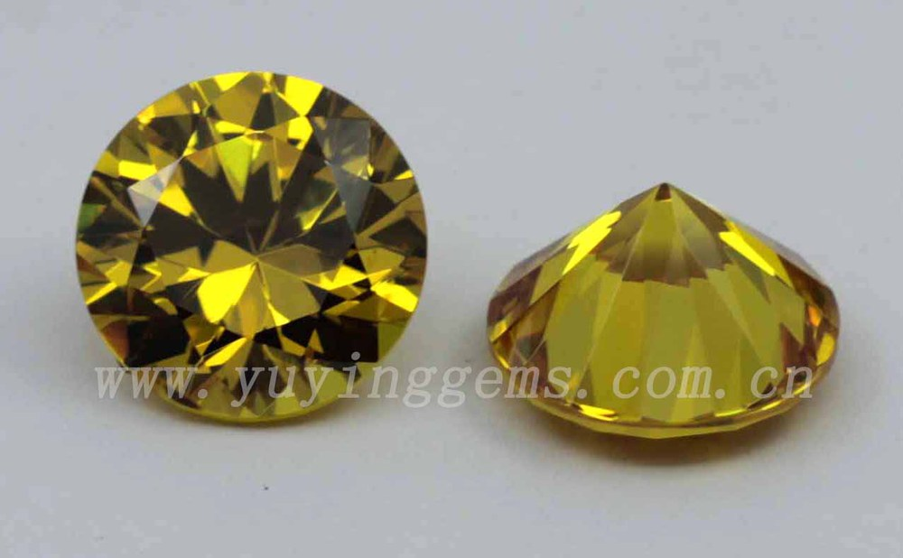 7mm cut high quality yellow topaz cz cheap gemstones