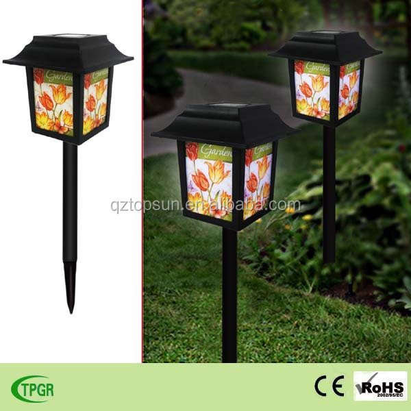 Chinese plastic palace lanterns garden decoration led solar light