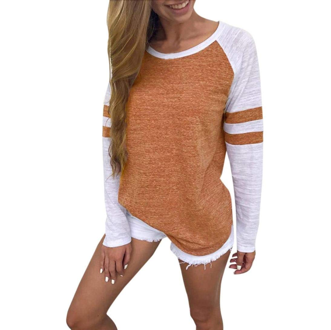 Snowfoller Women's Patchwork Tops Long Striped Sleeve Crew Neck Tunic Blouse Fashion Casual Tank Tops (M, Orange)