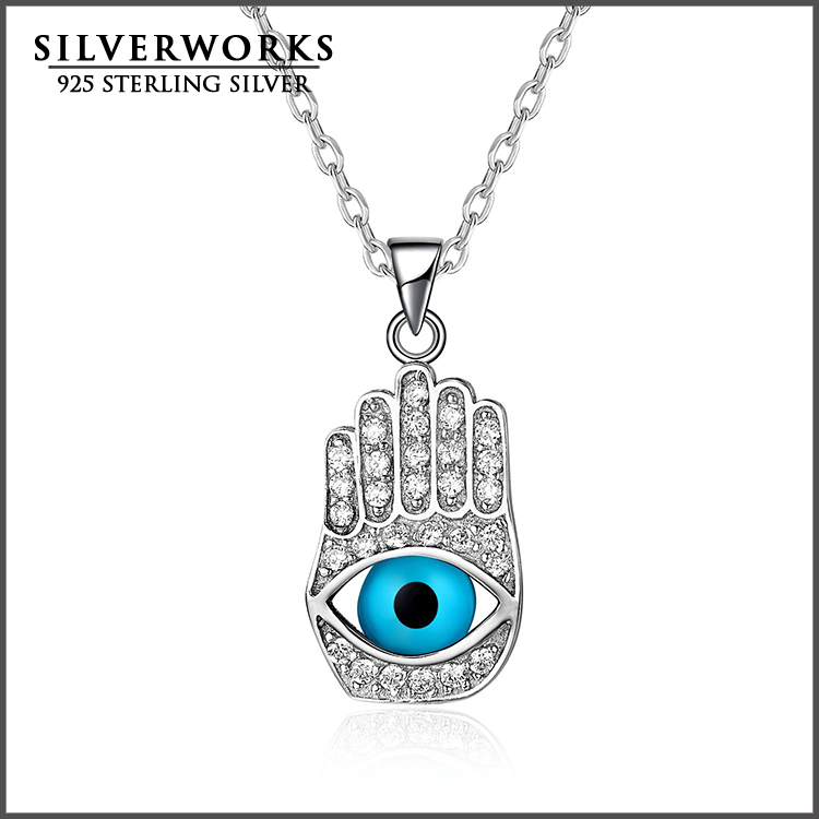 Pure 925 sterling Silver Hamsa Fatima Hand With Evil Eye Pendant Charms For Necklace