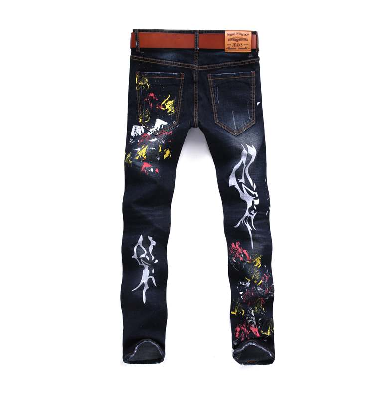 New Model Fashion Style Jeans Slim Fit Denim Pants With Spray Color For Boys