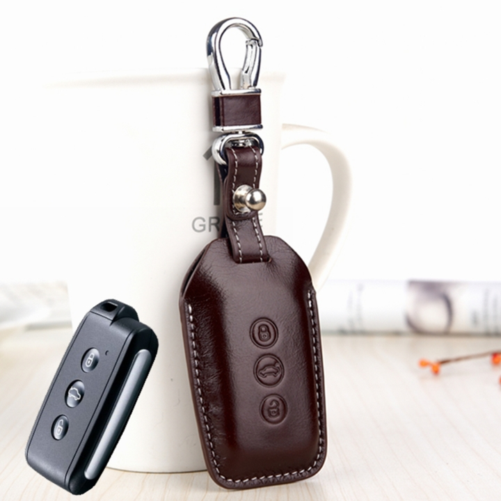 FOB Key Cover For Mitsubishi V3 southeast OUTLANDER ASX PAJERO Etc Genuine Leather car key holder remote case keychain ring