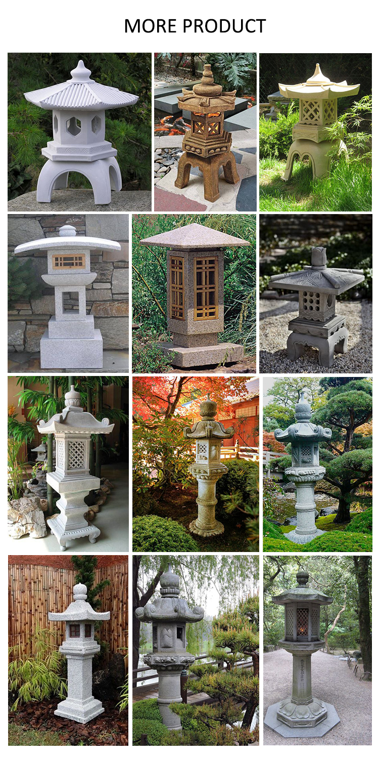 2018 Factory custom garden outdoor natural stone carved Japanese marble lantern