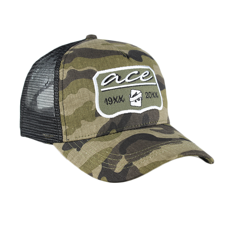 Military Trucker Style Baseball Hat Cap cotton Fabric/Mesh Camo, Trucker Hat Mesh Promotional , Custom Camo Trucker Cap