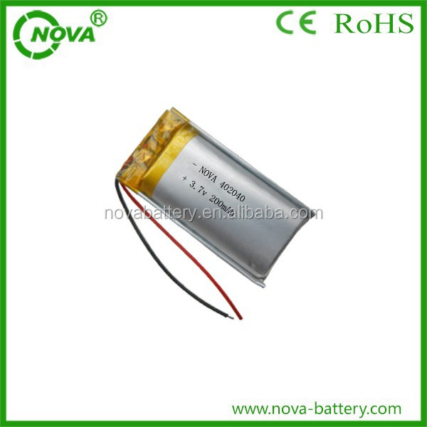 3.7v 200mah lithium polymer battery rechargeable cell battery, 3.7v 200mah li-po Akku