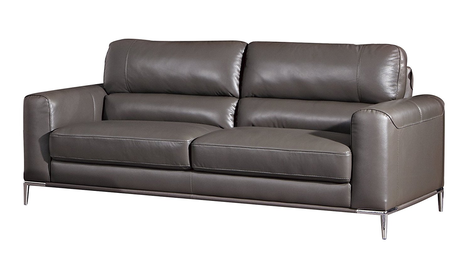 American Eagle Furniture Rodeo Collection Modern Top Grain Italian Leather 3 Person Living Room Leather Sofa, Taupe