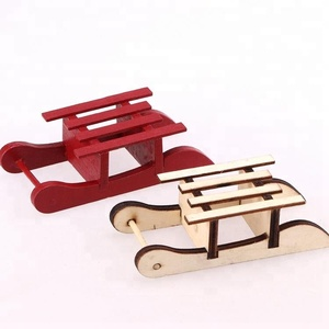 Hot Sale Mini Sled Decoration Wooden Sledge Sled Ornament For Holiday Gift