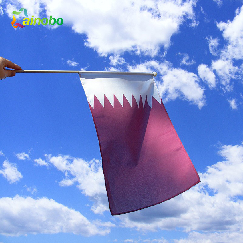 Cheap Wholesale Polyester Qatar National Hand Flag Printing For Promotion