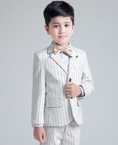 Kid's white strip formal dress suit