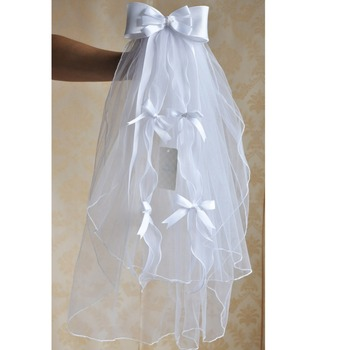 Children Communion Veil Flower Bridal With Diamond Bows Soft Fabric Head Decoration For Wedding