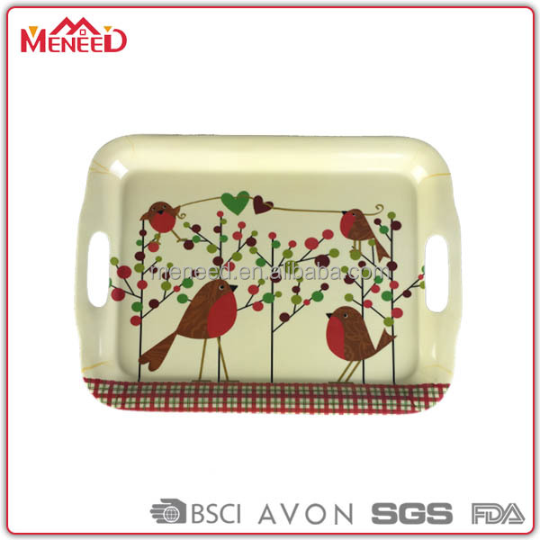 Beautiful design 100% melamine custom printed plastic serving tray with handles