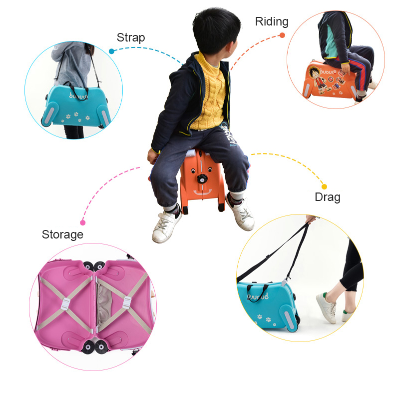 BUBULE Popular Design 4 Wheels PP Dog Kids Rolling Suitcase Luggage Bag