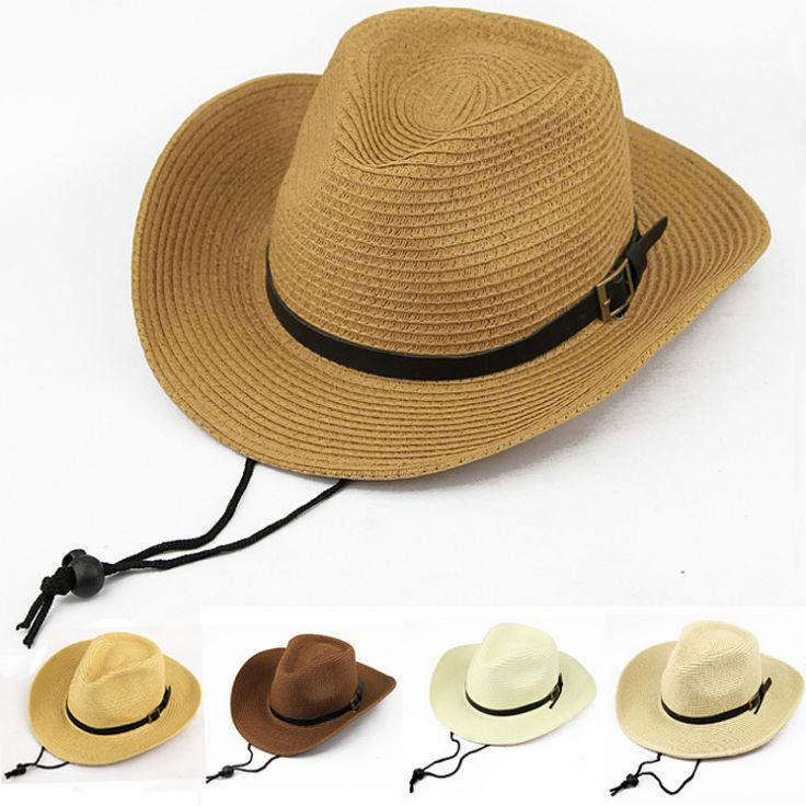 Summer Wide Brim Banner Cowboy Western Hats Straw Mens Beach Hat ... fbd414100fe