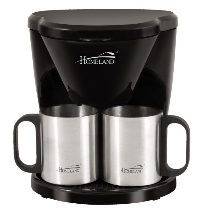 2 cup mini coffee maker with 2 stainless steel cups