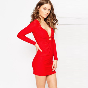 e994b58c637 Sexy deep V neck with pleated design long sleeve bright imperial red dress  women cocktail dresses