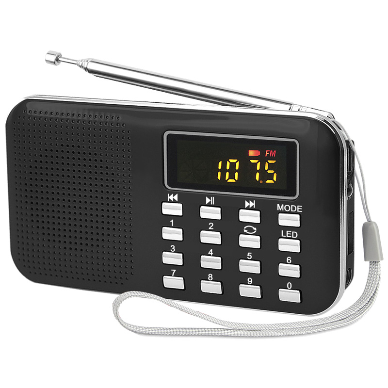 portable torch radio tf card mp3 player am fm radio with long antenna