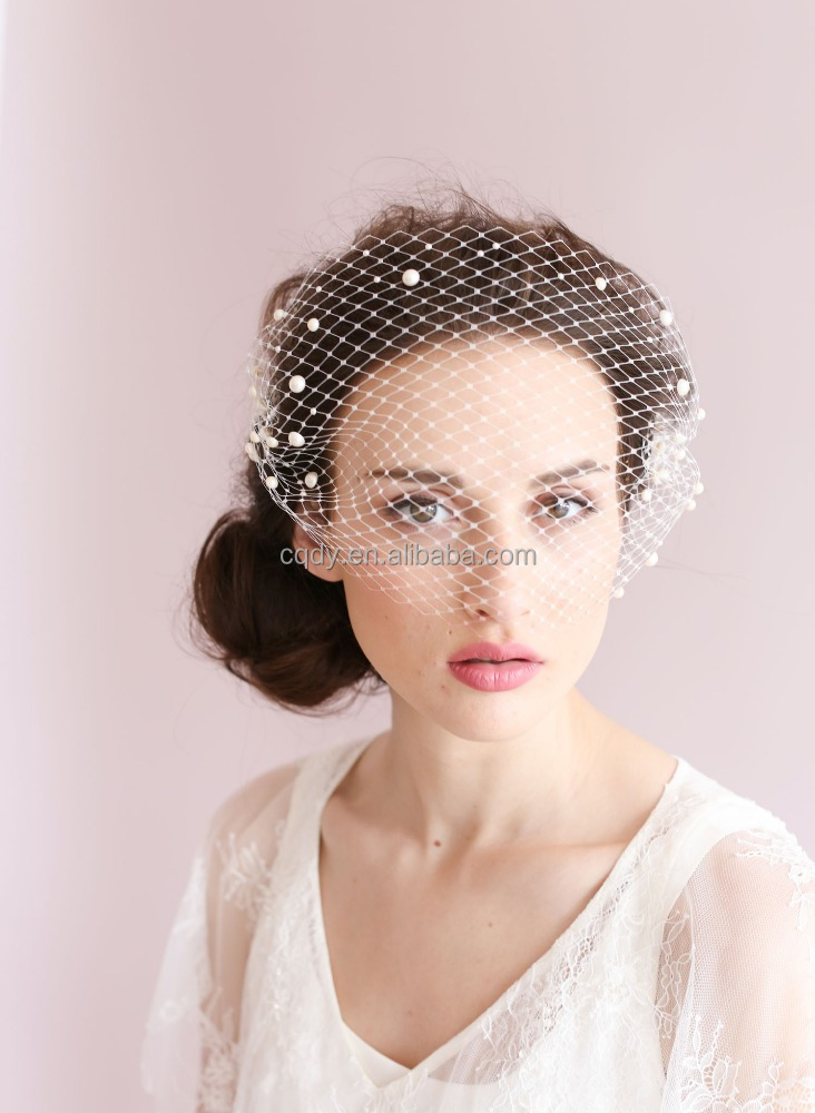2015 Ivory Tulle cap Bird Cage Wedding Accessories Veil Bridal face Wedding Veils with pearls Short Bridal Accesories Hot Sale