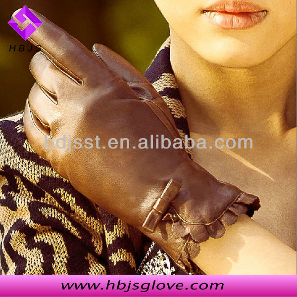 Skin Tight Brown Leather Gloves For Women